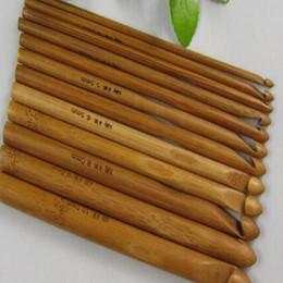 gancho de ganchillo 12 Rebajas Nuevo 12 unids carbonizar ganchos de ganchillo de bambú agujas de tejer tejido artesanal 3-10 mm ventas calientes