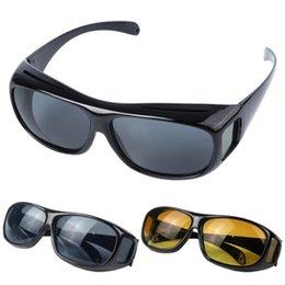 Wholesale Anti Glare Driving Glasses - HD Night Vision Driving Sunglasses Men Yellow Lens Over Wrap Around Glasses Dark Driving UV400 Protective Goggles Anti Glare 120pcs YYA222