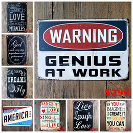 Wholesale Iron Decor Wholesalers - Warning Wall Stickers Home Decor Iron Retro Tin Metal Signs Old Plate Iron Board for Coffee Bar KTV Restaurant Decoration