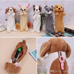 Wholesale Dogs Cosmetic - Creative new Plush Dog toy Pen Case Dog Pencil Bag Cute Animal dog cosmetic bag coin purse office material school supplies WD303