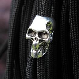 Wholesale Packing For Bracelet - 10pcs pack Paracord Beads Metal Skeleton Skull For Paracord Bracelet DIY Pendant Buckle Paracord Knife Lanyards Survival Bracelets Part
