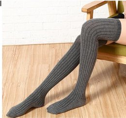 Wholesale Thigh Length Socks Women - Stockings 6 Colors Fashion Women's Stockings Sexy Warm Thigh High Over The Knee Socks Long Cotton Stockings Girls Ladies Women