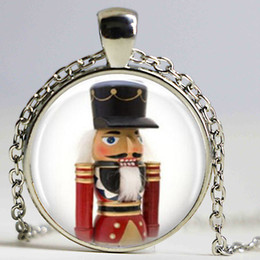 Wholesale Wholesale Nutcrackers Soldier - Christmas Jewelry Nutcracker Necklace Toy Soldier Art Pendant Vintage Choker Necklace Women Men Fashion Jewelry
