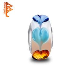 Wholesale Lampwork Glass Heart Loose Beads - BELAWANG Wholesale Color Heart Shape Murano Glass Beads Silver Loose Beads Fit Original Charm Bracelet&Bangles Fashion Jewelry DIY Making