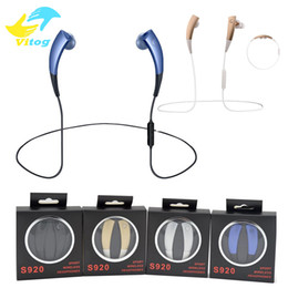 Wholesale Chip Necklaces Wholesale - S920 Bluetooth Headset Sport Earphone Stereo CSR4.0 chip Headphones Noise Reduction Wireless Necklace Style for iphone7 7plus note7 s7 edge