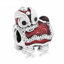 Wholesale Chinese Letter Charms - Chinese Lion Dance Charm 2017 Spring 100% 925 Sterling Silver Beads Fit Pandora Charms Bracelet Authentic DIY Fashion Jewelry