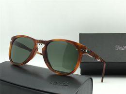 Wholesale Frame Light Box - 2017 PERSOL 714 FOLDING SUNGLASSES LIGHT HAVANA GREEN LENSES Holiday Sunglasses Brand New with Box