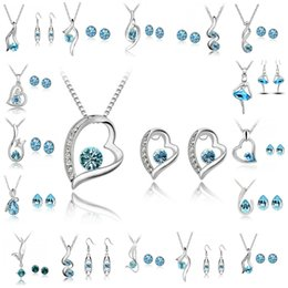 Wholesale Indian Wedding Necklace Sets - Bridesmaid Jewelry Set Wedding Earrings Swarovski Silver Crystal Jewelry Long Necklace Gift Set Indian African Jewellery Party Jewelry Sets
