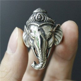 Wholesale Indian Nose Rings - Fashion Biker Ring 316L Stainless Steel Silver Polish Thailand Buddha Elephant Ring With Long Nose Biker Ring