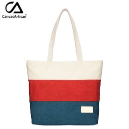 Wholesale Tote Bags Stripped - Wholesale- Canvasartisan Brand New Women Canvas Handbag Top-handle Strip Shoulder Bag Female Daily Travel Tote Shopping Purse Hand Bags