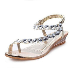 Wholesale Gold T Strap Wedge - Summer Sandals Bling Rhinestone Flats Women Platform Wedges Sandals Fashion Flip Flops Comfortable Woman Shoes Summer Beach Shoes