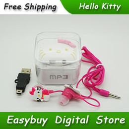 Wholesale Voice Box Music - Wholesale- 10 pcs lot 100% Brand New Mini Fashion Hello Kitty Shaped Card Reader MP3 Music Players With Hello Kitty Earphone&Mini USB&Box