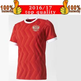 Wholesale Cup Soccer Jersey - New Arriver 2017 Russia Soccer Jerseys 2017 18 Confederations Cup Home Football Shirt Thai Quality Kokorin Dzyuba Smolov Soccer Shirts