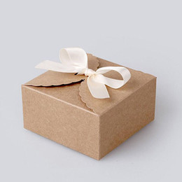 Wholesale Wholesale Cardboard Gift Boxes - 200PCS lot 9cmx9cmx6cm Vintage Style Kraft Paper Lace Pattern Cardboard Gift Box Candy Biscuit Gift Cake Packing Case ZA3875