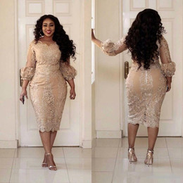 Wholesale Spring Tea Length Mother Dresses - Short Champagne Lace Plus Size Mother of the Bride Dresses Long Puff Sleeve Sheath Tea Length Women Formal Party Gowns Custom Size