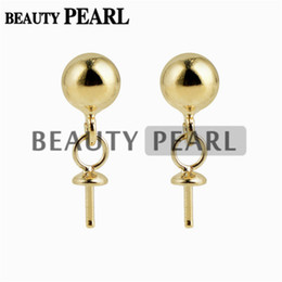 Wholesale Ball Posts - 10 Pairs Wholesale Gold Vermeil 925 Sterling Silver Post Stud Earrings Findings 5mm Ball Dot Earrings Components
