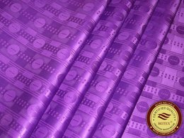 Wholesale High Quality Brocade - High Quality Guinea Brocade Bazin Riche Fabric 10Yards Bag Purple Color nice design african Garment Fabric Shadda Damask
