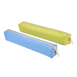 Wholesale Cute Pencil Cases For Girls - Wholesale- Cute Pencil Case Kawaii Dot Canvas Pen Bag Stationery Pouch for Girls Gift Office School Supplies Escolar Canetas Candy Color