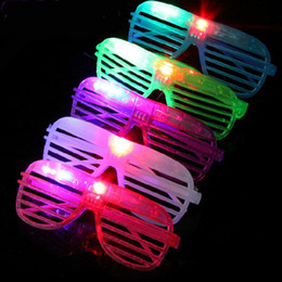 Wholesale Christmas Sunglasses Lights - LED Light Flashing Glasses Shutters Shape Glasses LED Flash Glasses Sunglasses Dances Party Supplies Festival Decoration Christmas Gift DHL