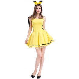Wholesale Feet Tv - Pikachu Cosplay Dress Cartoon Image Fashion Stage Performance Costumes Party Special Clothes Sexy Striped Feet Game Uniform