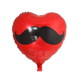 Wholesale Balloons Romantic - 50pcs lot Wedding party decorations Romantic red heart Moustache balloons Foil balloons married helium inflatable balls supplies
