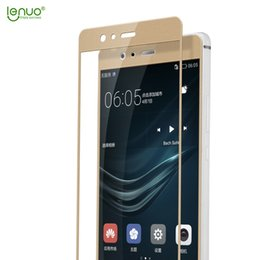 Wholesale Huawei P - Wholesale- LENUO Full Coverage for Huawei P9 P 9 Tempered Glass 2.5D Soft Arc Edge Mobile Phone Screen Complete Cover Guard Film