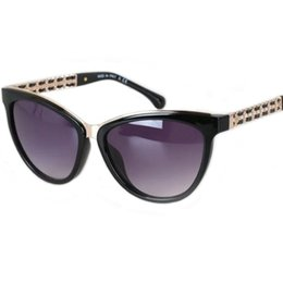 Wholesale Oval Chains - Sale New 2017 Metal Chain Leather Strip Arms Sunglasses Women Brand Designer ch5361 Brand Sunglasses Women Acetate 58-16-140 SunGlasses