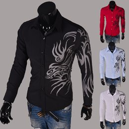 Wholesale Mens Long Sleeve Western Shirts - Wholesale- 2016 new casual long sleeve shirts dress male mens clothing social slim fit brand boutique cotton western button white black red