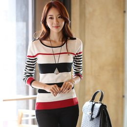 Wholesale Woman Korean Clothing Style - Wholesale-Ladies Clothing New 2016 Spring Korean Style Fashion Casual Long Sleeve Stripe Knitted Thin Pullovers And Women Sweaters B320