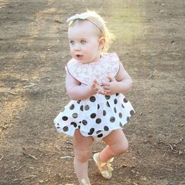 Wholesale Baby Girl Dress Trouser - Baby Clothes INS Summer Newborn Infant Black Dots Girls Dress Short Trousers 2PCS Set Triangle PP Pants Girls Tutu Dresses Kids Clothing 562