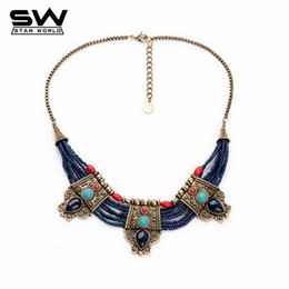 Wholesale Blue Turquoise Statement Necklace - Wholesale-Vintage Nepal Indian Tibetan Buddhism Bohemian Blue Beads Turquoise Ruby Gems Womans Pendants Statement Necklaces