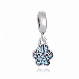 Wholesale Footprints Pendant - Wholesale- Multicolor Pawprint Footprint Crystal Crafts Beads Big Hole Charm Pendants DIY Jewelry Accessories Fit Necklace Bracelet JPP244