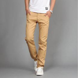 Wholesale Business Casual Trousers - Wholesale- AIANXIN Hot sales Mew Design Casual Men pants Cotton Slim Pant Straight Trousers Fashion Business Solid Khaki Black Pants Men