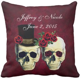 "Wholesale Custom Throw Cushions - Skull Couple Bride and Groom Custom Wedding Throw Pillow Case, Squar Sofa Cushions Cover, ""16inch 18inch 20inch"", Pack of X"
