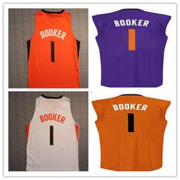 Wholesale Nwt Fashion - NWT 1 Devin Booker Basketball Jerseys Good Stitched Team White Purple Orange Devin Booker Running Shirts Fashion Breathable Mix Order