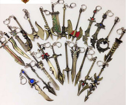 Wholesale Metal Weapons - New Arrival Hot Sale Weapon Keychain LOL Keychain Metal Pendant Key Rings Mix Designs Bag pendant Novelty Games