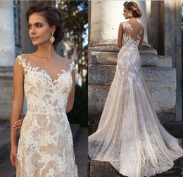 Wholesale Off Shoulder Church Wedding Dress - Vintage Long Full Lace Wedding Dresses with Sheer Scoop Neck Court Train Elegant Appliques 2017 Church Bridal Gowns