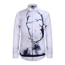 Wholesale Unique Design Clothes - Unique Deer and Long Deer Horn White Base 3D Men Shirt Long Sleeve Fashion Brand Design Male Shirts Chemise Clothes BL-004