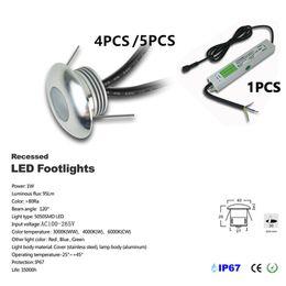 4-5 pz / set DC12V 1W LED Deck Light Lampada da incasso per scale Lampada da pavimento IP67 LED da terra impermeabile Faretto da parete con driver IP67 CE da