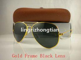 Wholesale Clear Sight Glass - 1pcs High Quality Classic Pilot Sunglasses Designer Brand Mens Womens Sun Glasses Eyewear Gold Metal Green 58mm 62mm Glass Lenses Brown Case