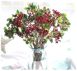 Wholesale Bedding Purple Green - Wholesale Artificial berries bouquets fake flower fruits berry plants for wedding home bedding set table decoration