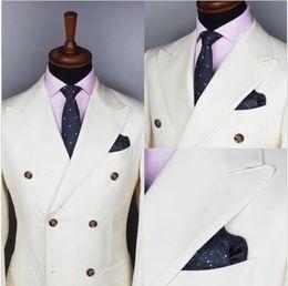 Wholesale Dark Blue Groomsmen Suits - Fashion Men's Double Breasted Wedding Groom Tuxedo groomsmen best men's new suit 2 pieces (coat + pants) custom made