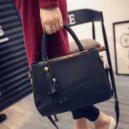 Wholesale Luxury Work Bags - Wholesale- 2016 Lastest Designer Tote Ladies Hand Bags Women Leather Handbags Luxury Brand Fringe Briefcase for Work Shopper Party Purses