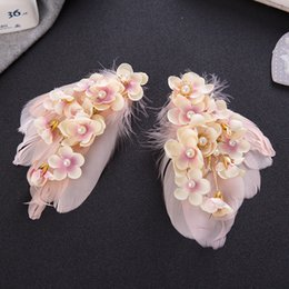 Wholesale Manual Clips - Free shipping manual pearl feather headdress edge clip hair accessories The bride modelling accessories The bride of jewelry