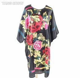 Wholesale Traditional Chinese Silk Dresses - Wholesale- ot Sale Black Chinese Traditional Women's Silk Robe Dress Gown Printed Kimono Sleepwear Nightshirt Bathrobe One Size GW005