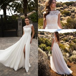 Wholesale Chiffon Wedding Dress Layers - 2017 New Split Side Thigh HIgh Slits Wedding Dresses Sleeveless Chiffon Layers Lace Top Custom Made Beach Bridal Gowns