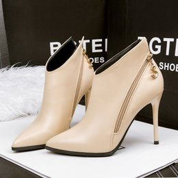 Wholesale Metal Charms Pendants Heels - Shoes Woman Winter Pointed Toe Ankle Boots Two Zipper Martin Boots Metal Pendant Short Stiletto Heels Bota Feminina Red Black Apricot