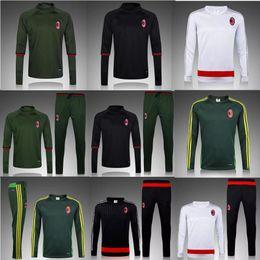 Wholesale Black Jacket Men Dark - 2017 2016 AC Milan Sweatshirt Men Hoodies Training Suit Sportsware Tracksuit Dark Green Black Kit Tracksuits hooded jacket with pants