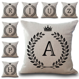 Wholesale Initial Silver Letters - A-Z 26 English Letter Initials Pillow Case Cushion Cover Linen Cotton Throw Pillowcases Sofa Car Pillowcover PW652