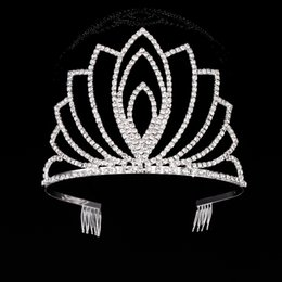 Wholesale Crystal Clay For Sale - HOT Sale Gorgeous Sparkling Silver Big Wedding Diamante Pageant Tiaras Hairband Crystal Bridal Crowns For Brides Hair Jewelry Headpiece